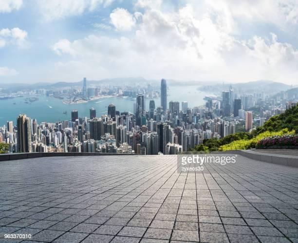 victoria harbour,hong kong, - front view bildbanksfoton och bilder