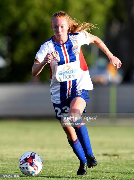 Victoria Huster of the Jets breaks away from the defence during the round seven WLeague match between the Brisbane Roar and the Newcastle jets at AJ...