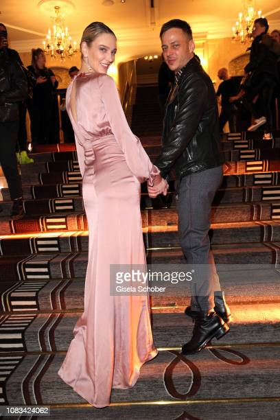 Victoria Jancke and Tom Wlaschiha during the Marcel Ostertag show as part of the Berlin Fashion Week Autumn/Winter 2019 at Westin Grand Hotel on...