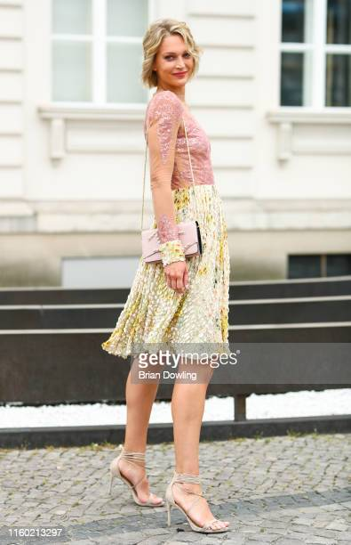 Victoria Jancke seen wearing a dress by Lana Mueller and a bag by Aigner at the Fashion Brunch on July 05, 2019 in Berlin, Germany.