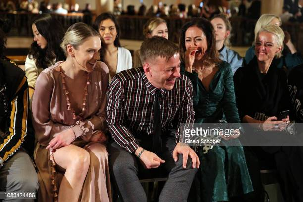 Victoria Jancke Tom Wlaschiha and Anastasia Zampounidis laughs during the Marcel Ostertag show as part of the Berlin Fashion Week Autumn/Winter 2019...