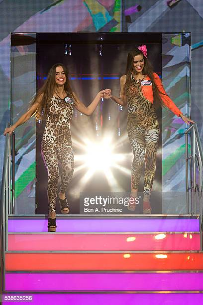 Victoria Jensen and Emma Jensen enter the Big Brother house at the Big Brother Launch 2016 at Elstree Studios on June 7 2016 in Borehamwood England