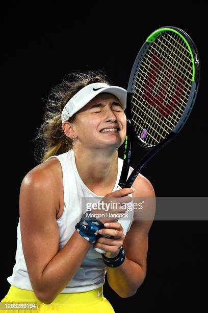 Victoria Jimenez Kasintseva of Andorra celebrates after winning championship point during her Junior Girls' Singles Final against Weronika Baszak of...