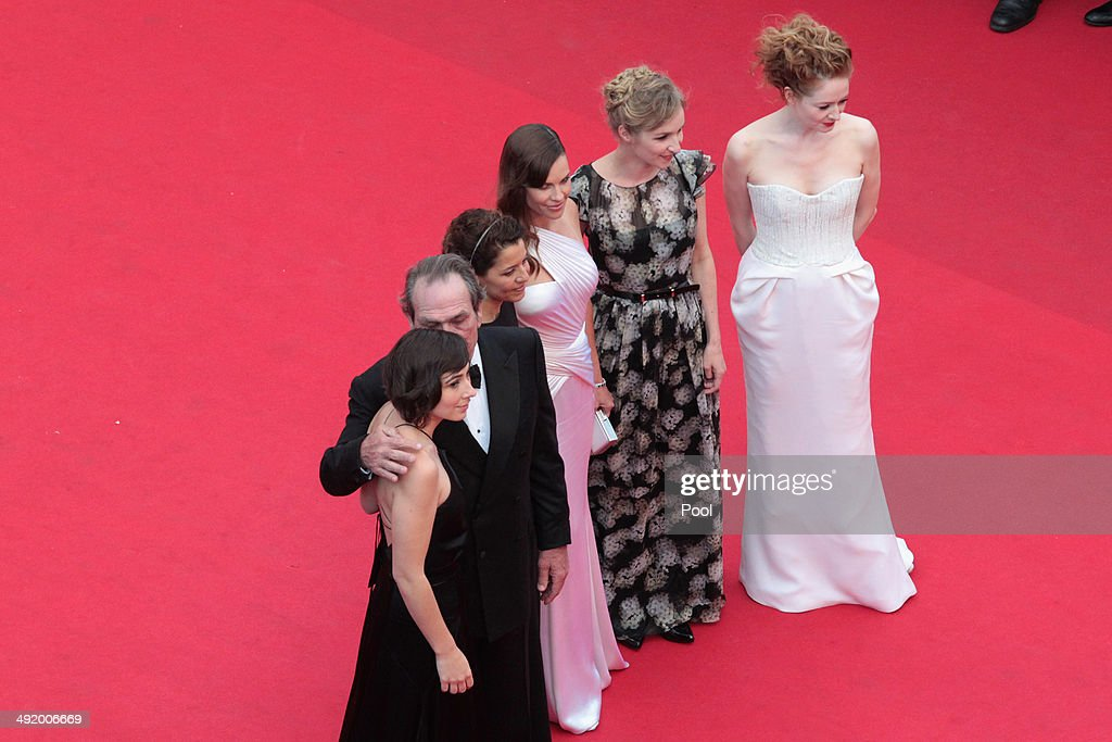 Victoria Jones, Tommy Lee Jones, Dawn Laurel-Jones, Hilary Swank, Sonja Richter and Miranda Otto attend 'The Homesman' premiere during the 67th Annual Cannes Film Festival on May 18, 2014 in Cannes, France.