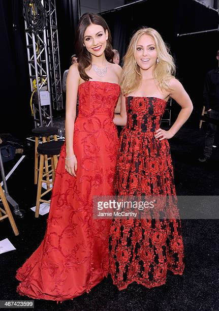 Victoria Justice and AnnaSophia Robb attend Go Red For Women The Heart Truth Red Dress Collection during MercedesBenz Fashion Week Fall 2014 at The...