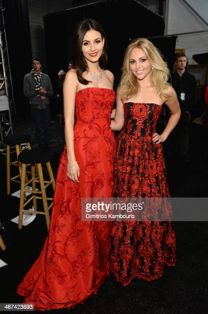 Victoria Justice and AnnaSophia Robb pose backstage at Go Red For Women The Heart Truth Red Dress Collection 2014 Show Made Possible By Macy's And...