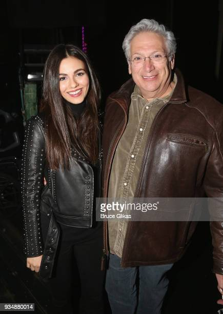 Victoria Justice and Book Writer Harvey Fierstein pose backstage at the hit musical 'Kinky Boots' on Broadway at The Hirshfeld Theatre on March 19...