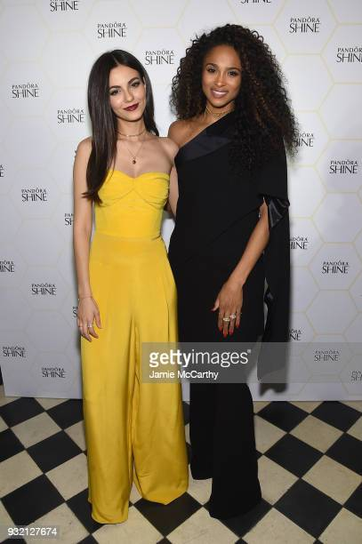 Victoria Justice and Ciara pose during the PANDORA Jewelry Shine Collection Launch with Ciara on March 14 2018 in New York City