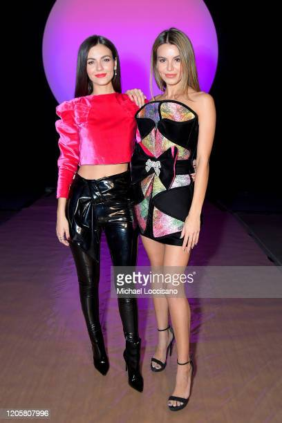 Victoria Justice and Madison Reed attend the Raisavanessa front row during New York Fashion Week The Shows at Gallery I at Spring Studios on February...