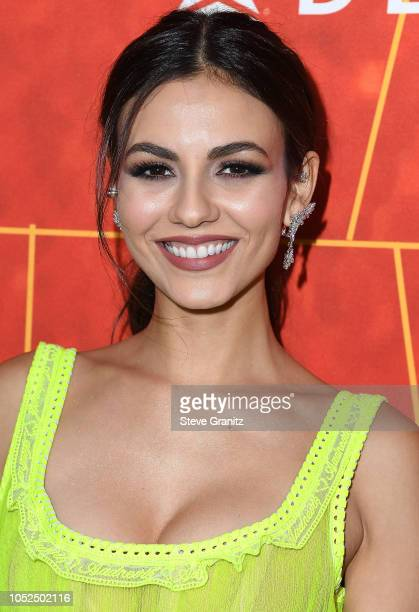 Victoria Justice arrives at the amfAR Gala Los Angeles 2018 at Wallis Annenberg Center for the Performing Arts on October 18 2018 in Beverly Hills...
