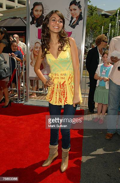 Victoria Justice arrives at the 'Bratz' Los Angeles premiere at The Grove on July 29 2007 in Los Angeles California