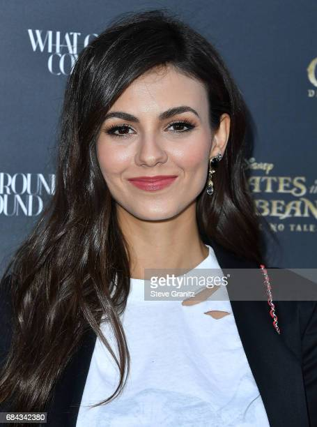 Victoria Justice arrives at the Disney's Pirates Of The Caribbean Dead Men Tell No Tales What Goes Around Comes Around Event at What Goes Around...