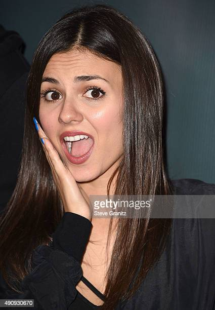 Victoria Justice arrives at the Knott's Scary Farm Black Carpet at Knott's Berry Farm on October 1 2015 in Buena Park California