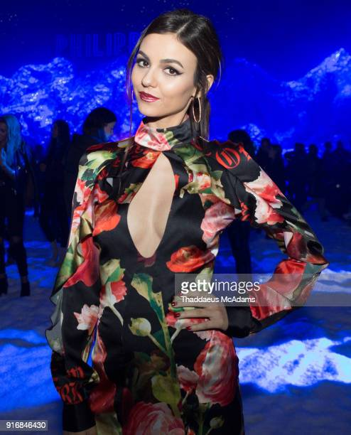 Victoria Justice arrives at The Philipp Plein Fashion show at Duggal Greenhouse on February 10 2018 in the Brooklyn borough of New York City New York