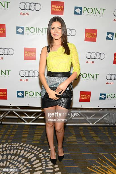 Victoria Justice arrives at the Voices On Point musical gala to benefit the Point Foundation to celebrate the accomplishments of LGBTQ students at...