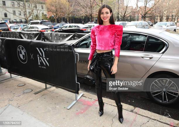 Victoria Justice arrives to NYFW The Shows in a BMW 750i xDrive Sedan in New York City on February 06 2020 For the second consecutive year BMW is the...