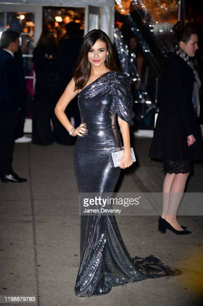 Victoria Justice arrives to the amfAR Gala New York 2020 at Cipriani Wall Street on February 5, 2020 in New York City.