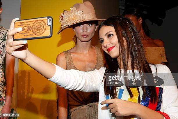 Victoria Justice attends Alice Olivia By Stacey Bendet Spring 2016 during New York Fashion Week The Shows at The Gallery Skylight at Clarkson Sq on...