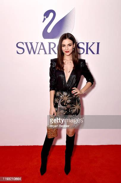 Victoria Justice attends Naughty Or Nice A Swarovski Holiday Celebration on December 10 2019 in New York City