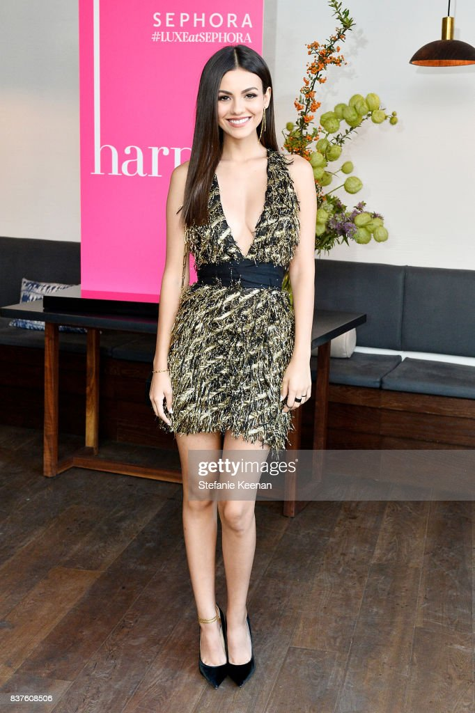 Victoria Justice attends Nina Dobrev celebrates the harper by Harper's BAZAAR September Issue with an Event Presented By Sephora In LA at Rosaline on August 22, 2017 in West Hollywood, California.