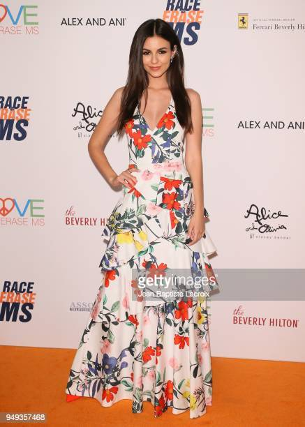 Victoria Justice attends the 25th Annual Race To Erase MS Gala at The Beverly Hilton Hotel on April 20 2018 in Beverly Hills California