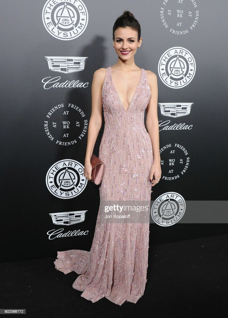 Victoria Justice attends The Art Of Elysium's 11th Annual Celebration - Heaven at Barker Hangar on January 6, 2018 in Santa Monica, California.