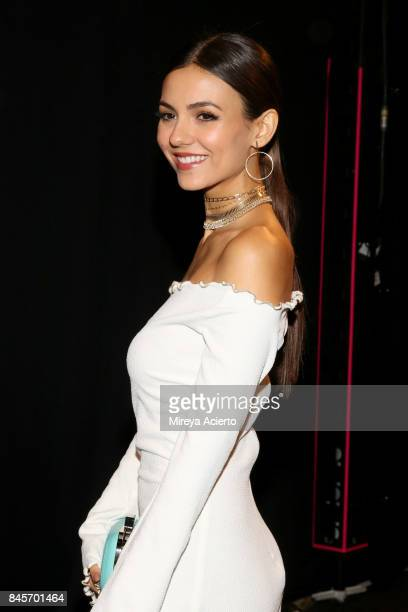 Victoria Justice attends the John Paul Ataker fashion show during New York Fashion Week The Shows at Gallery 1 Skylight Clarkson Sq on September 11...
