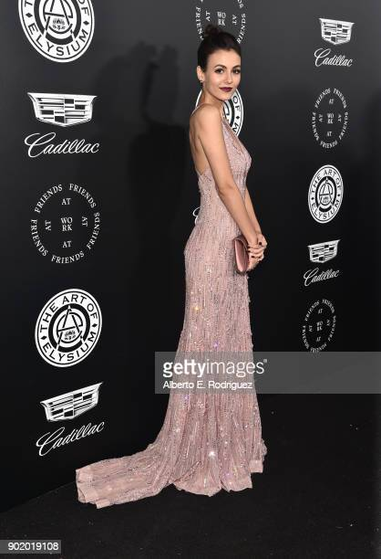 Victoria Justice attends the Moet Hennessy John Legend's HEAVEN with the Art of Elysium at Barker Hangar on January 6 2018 in Santa Monica California