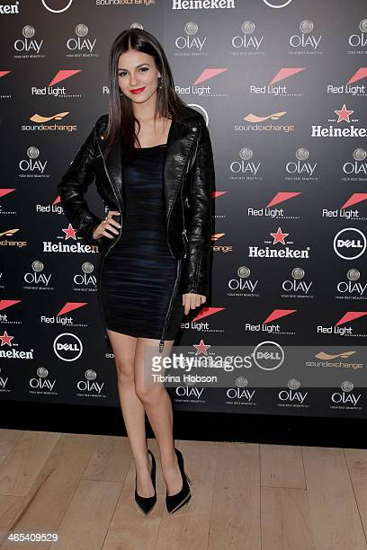 Victoria Justice attends the Red Light Management annual Grammy after party at SkyBar at the Mondrian Los Angeles on January 26 2014 in West...