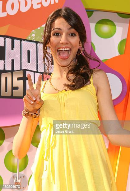 Victoria Justice during Nickelodeon's 20th Annual Kids' Choice Awards Orange Carpet at Pauley Pavilion in Westood California United States