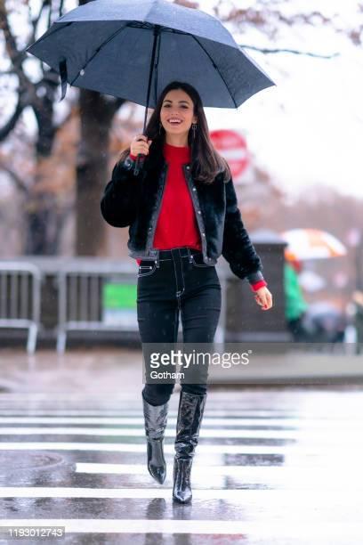 Victoria Justice is seen in Midtown on December 09 2019 in New York City