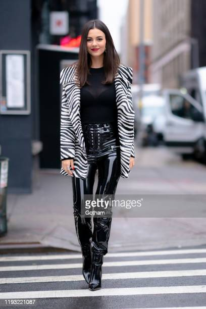 Victoria Justice is seen in Tribeca on December 10, 2019 in New York City.
