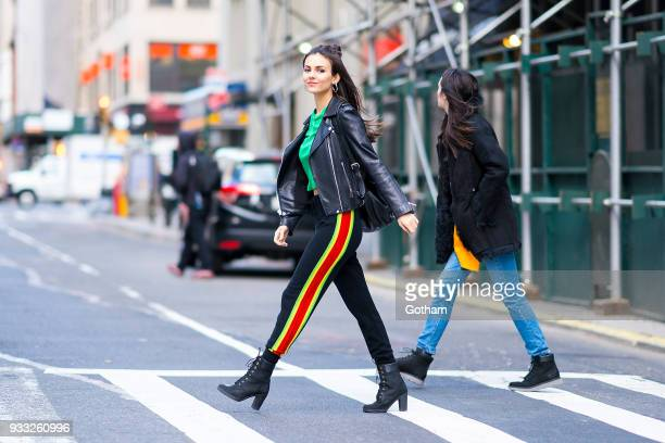 Victoria Justice is seen wearing Alice Olivia in Gramercy Park on March 17 2018 in New York City
