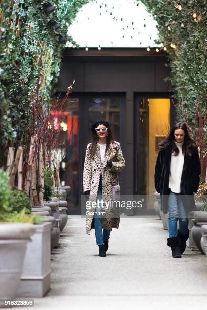 Victoria Justice is seen wearing House of Harlow 1960 jacket, re/done shirt and jeans with Illesteva sunglasses in SoHo on February 9, 2018 in New...