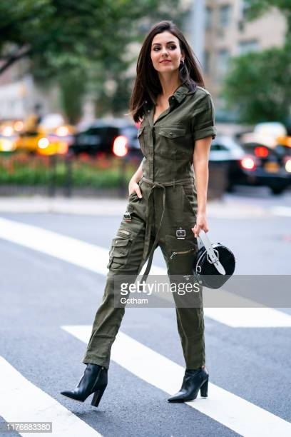 Victoria Justice is seen wearing The Kooples jumpsuit with Sam Edelman boots and Rebecca Minkoff handbag in Murray Hill on September 23, 2019 in New...