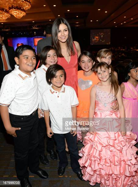 Victoria Justice Isabella Rickel and Mariella Rickel attend the 20th Annual Race To Erase MS Gala Love To Erase MS at the Hyatt Regency Century Plaza...