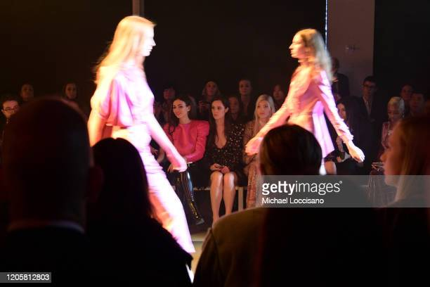 Victoria Justice Madison Reed and Devon Windsor attend the Raisavanessa front row during New York Fashion Week The Shows at Gallery I at Spring...