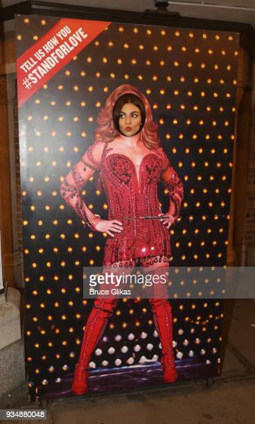 Victoria Justice poses at the hit musical 'Kinky Boots' on Broadway at The Hirshfeld Theatre on March 19 2018 in New York City
