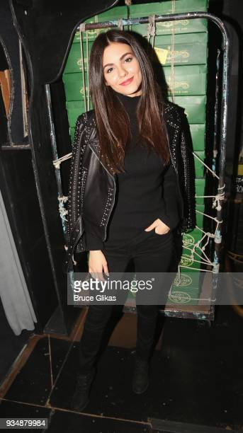 Victoria Justice poses backstage at the hit musical 'Kinky Boots' on Broadway at The Hirshfeld Theatre on March 19 2018 in New York City