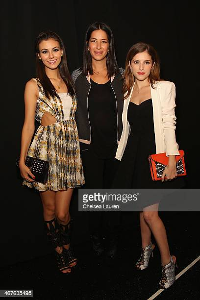 Victoria Justice Rebecca Minkoff and Anna Kendrick pose backstage at Rebecca Minkoff fashion show during MercedesBenz Fashion Week Fall 2014 at The...