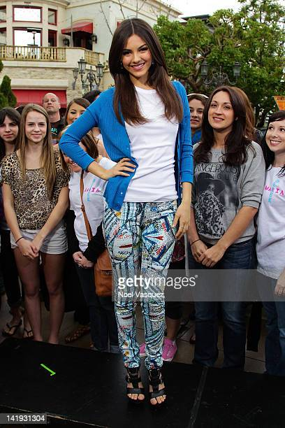 Victoria Justice visits Extra at The Grove on March 26 2012 in Los Angeles California