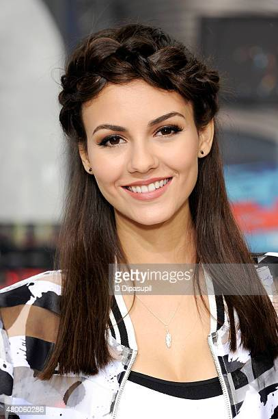 Victoria Justice visits 'Extra' at their New York studios at HM in Times Square on July 9 2015 in New York City