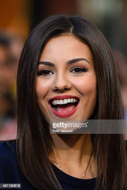 Victoria Justice visits Extra at Universal Studios Hollywood on January 8 2015 in Universal City California