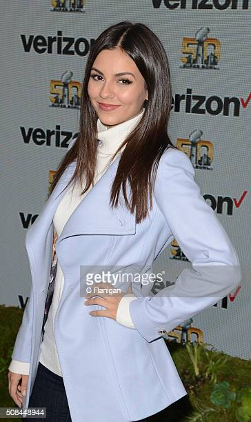Victoria Justice visits the VERIZON ACCESS ZONE in Super Bowl City on February 4 2016 in San Francisco California