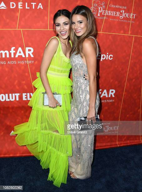 Victoria JusticeMadison Reed arrives at the amfAR Gala Los Angeles 2018 at Wallis Annenberg Center for the Performing Arts on October 18 2018 in...