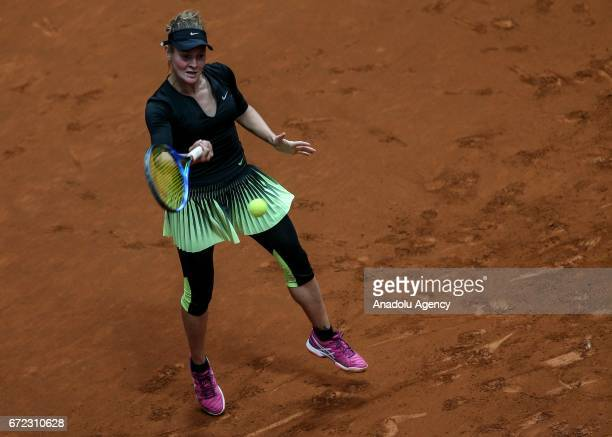Victoria Kamenskaya of Russia in action against Anna Kalinskaya of Russia during the TEB BNP Paribas Istanbul Cup women's qualifying tennis match at...