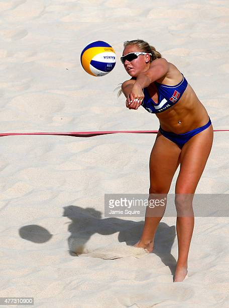 Victoria Kjoelberg of Norway competes in the Women's beach volleyball preliminary match against Spain during day four of the Baku 2015 European Games...