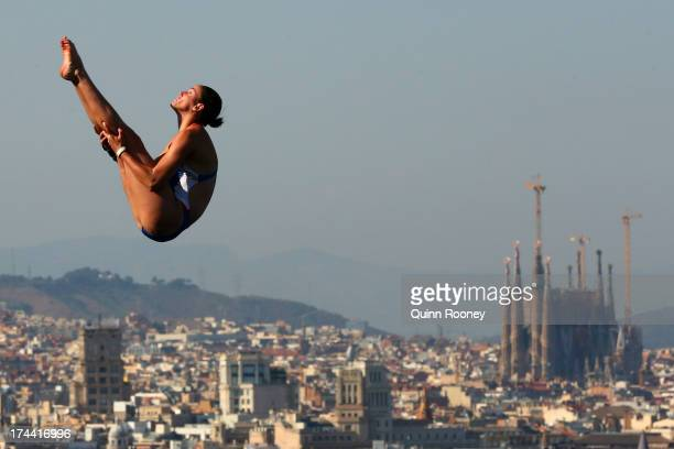 Victoria Lamp of USA competes in the Women's 10m Platform Diving final on day six of the 15th FINA World Championships at Piscina Municipal de...