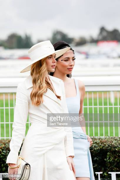 Victoria Lee and Jessica Gomes attends 2018 Caulfield Cup Day at Caulfield Racecourse on October 20 2018 in Melbourne Australia
