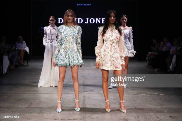 Victoria Lee and Jessica Gomes walk the runway after wearing designs by Zimmerman at the David Jones Autumn Winter 2018 Collections Launch at...
